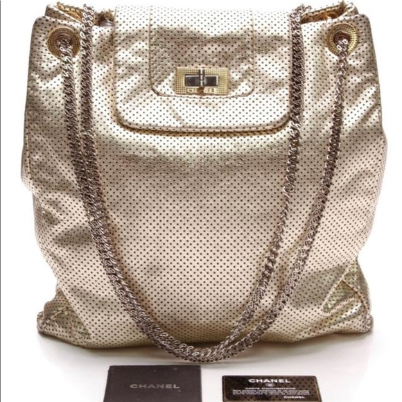 f6d0d9f9b2f4 CHANEL Bags | Metallic Perforated Large Drill Gold Tote | Poshmark
